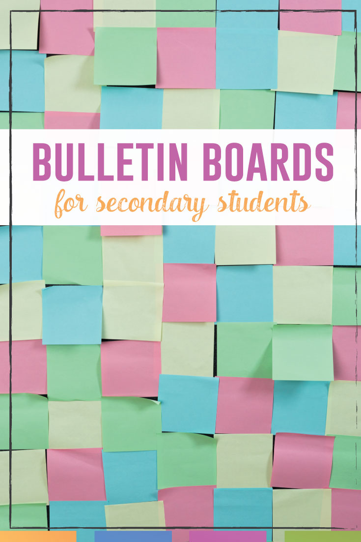 Creating bulletin boards in the secondary classroom can be a struggle. Don't make them babyish and involve students! Here are easy guidelines. #BulletinBoards