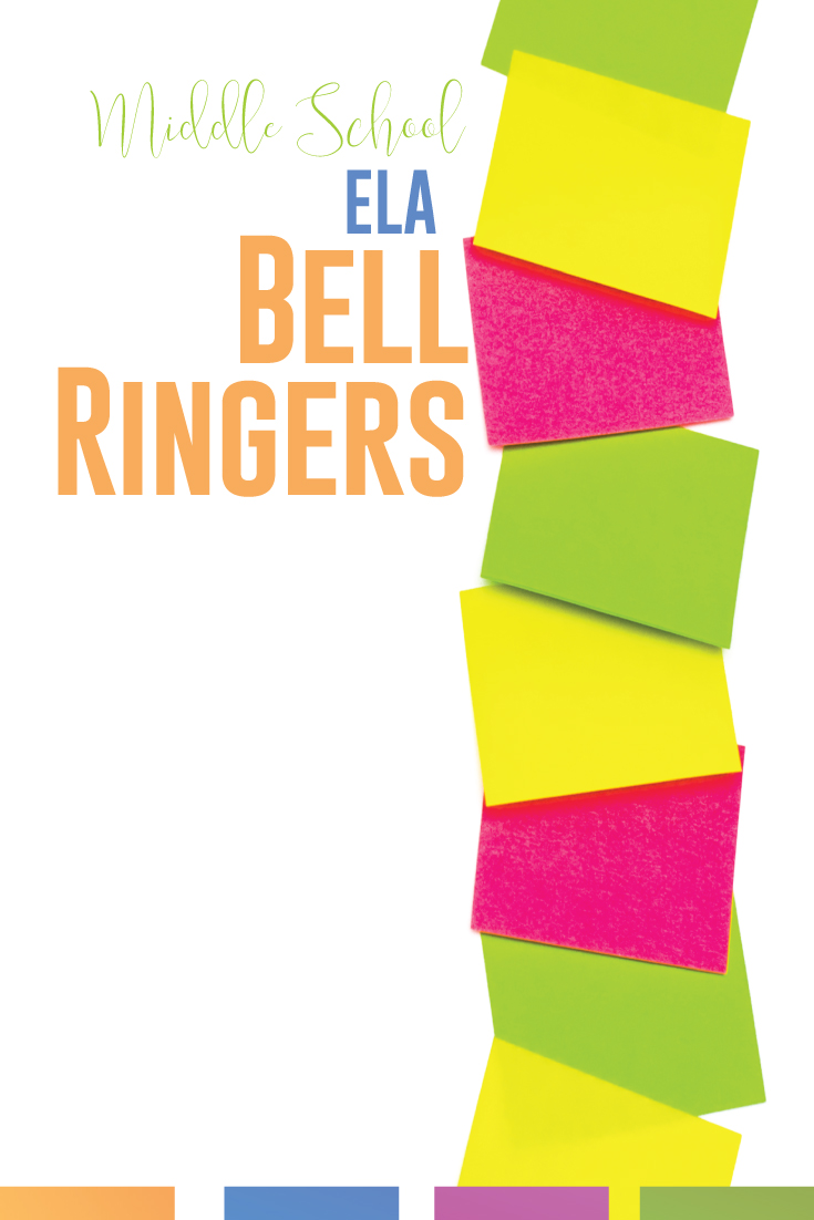 Middle school bell ringers for ELA can be engaging adn fun! Plus, bell ringers (middle school language arts) can increase classroom organization and classroom management. Students will anticipate starting with the bell and work toward mastery of grammar, writing, and reading. ELA bell ringers for middle school will also help language arts teachers meet standards. Add one of these free mddle school language arts downloads to your English curriculum.