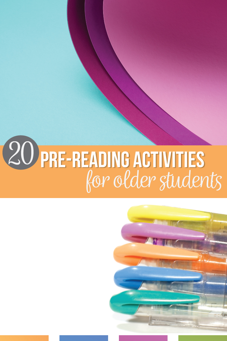 Prereading activities for older students can improve your classroom discussions. Pre reading activities for middle school & pre reading activities for high school encourage literary analysis & reader response questions. These FREE pre reading activities help with reading comprehension. Before reading activities help reluctant readers. Activities for pre reading can be simple & free. Add these literature activities to your reading activities for middle school language arts classes.