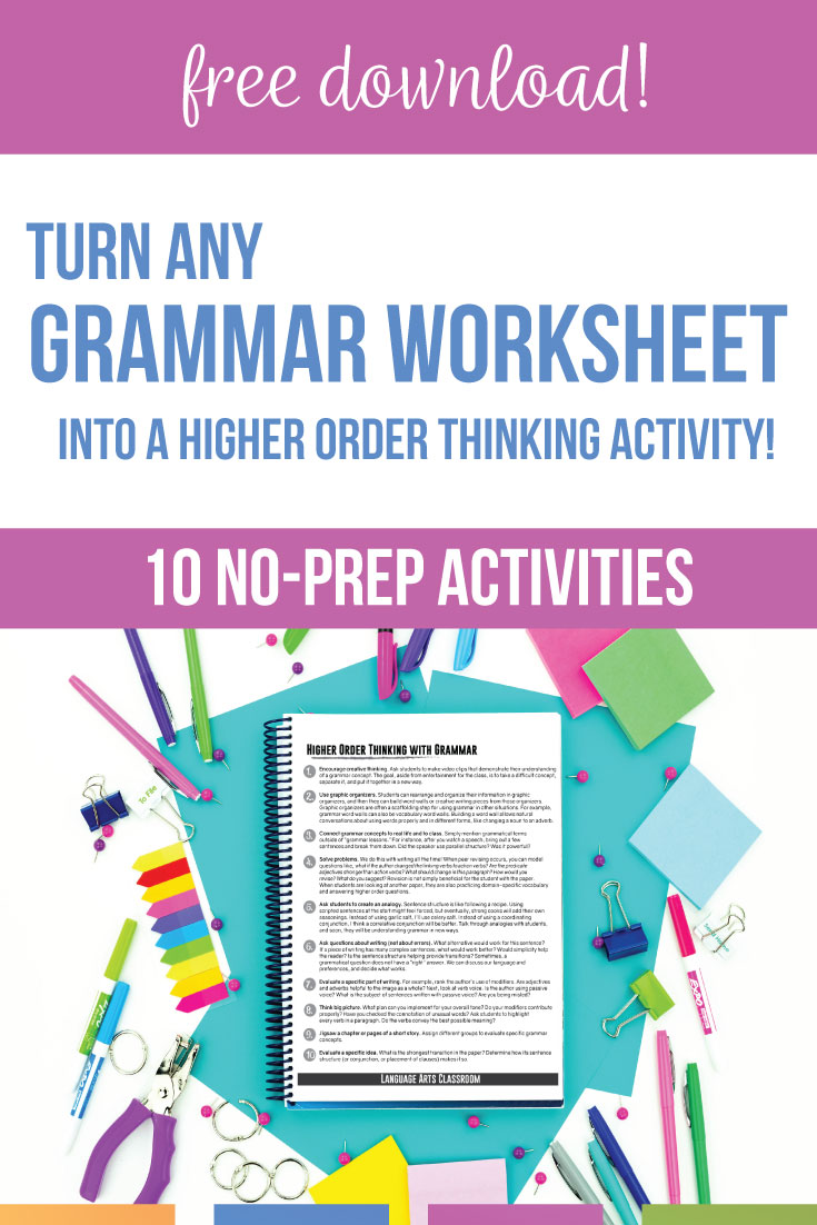 Grammar for high school English classes does not need to start & end with a grammar worksheet. Grammar lessons to help high school students should connect to literature, writing, & informational texts. Teach grammar rules for high school students that will bring clarity to student essays. Grammar activities for high school English provide opportunities for growth & improved student writing. High school grammar worksheets can become important high school ELA lessons with this free grammar PDF.