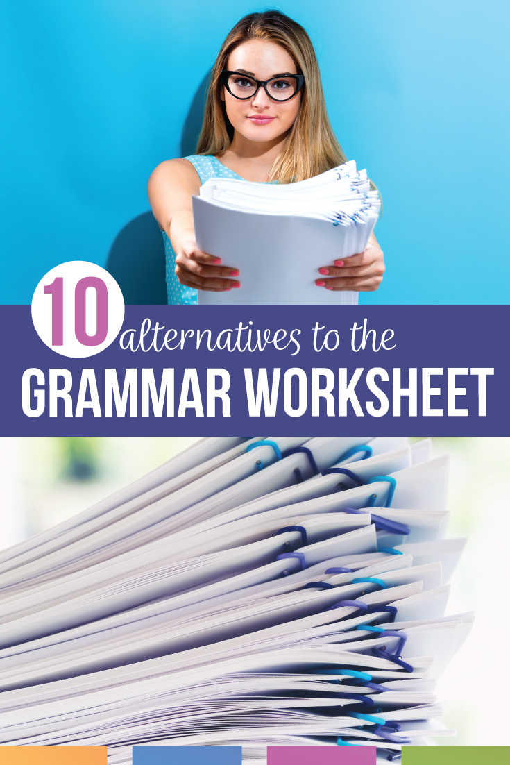 Are you looking for alternatives to the grammar worksheet? Grammar worksheets can be helpful, but fun grammar worksheets and other grammar activities are available! Spice up grammar for high school and grammar for middle school with grammar sorts, grammar videos, interactive notebooks, and more. Engage reluctant secondary writers by connecting grammar to writing. In Alternatives to the Grammar Worksheet, you can download a dozen free grammar activities.
