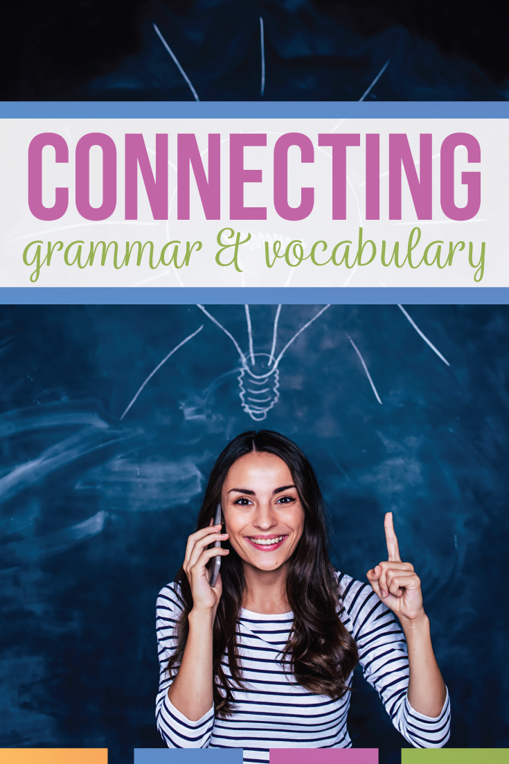 Grammar and vocabulary lessons meet language standards in language arts classes. Vocabulary and grammar improve student essays. Are you looking for how to teach grammar and vocabulary? This free vocabulary download will improve grammar instruction.