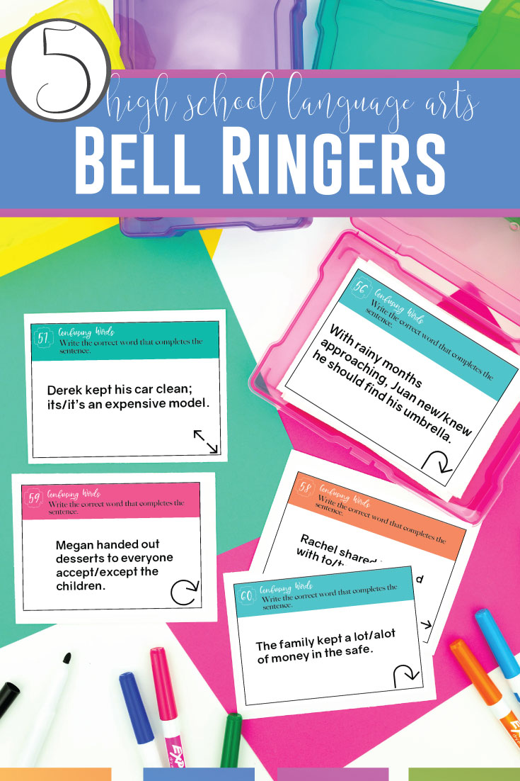 Does your high school language arts classroom need structure and organization? Bell ringers for high school English will build relationships and improve classroom management. Try grammar bell ringers for high school or other engaging lessons for high school English classes. Bell ringers for high school language arts will help you meet literature standards and langauge standards while providing expectations for students. Encourage young writers and readers with bell ringers.