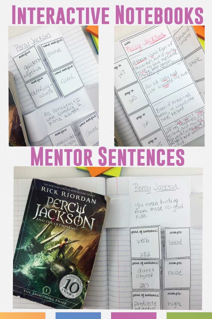 Mentor sentences and interactive notebook pieces - together?! The perfect combination of differentiation and student choice.