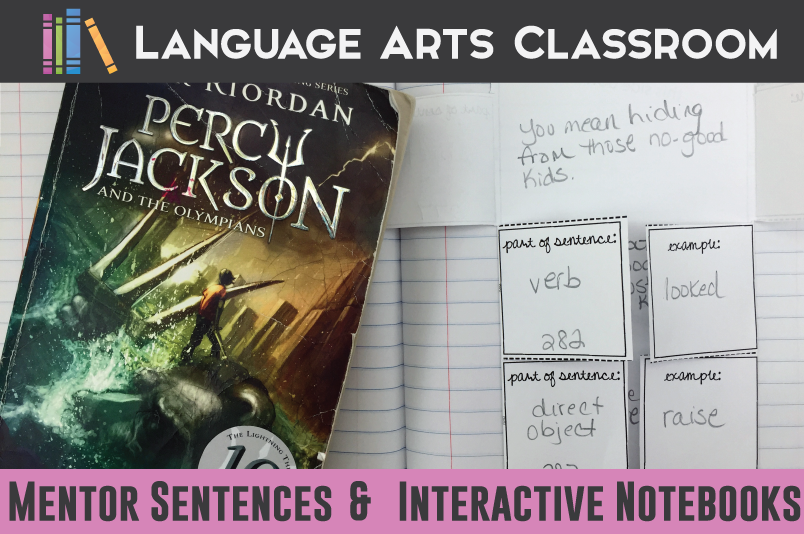 Interactive notebook pieces for mentor sentences - use with any novel or short story.