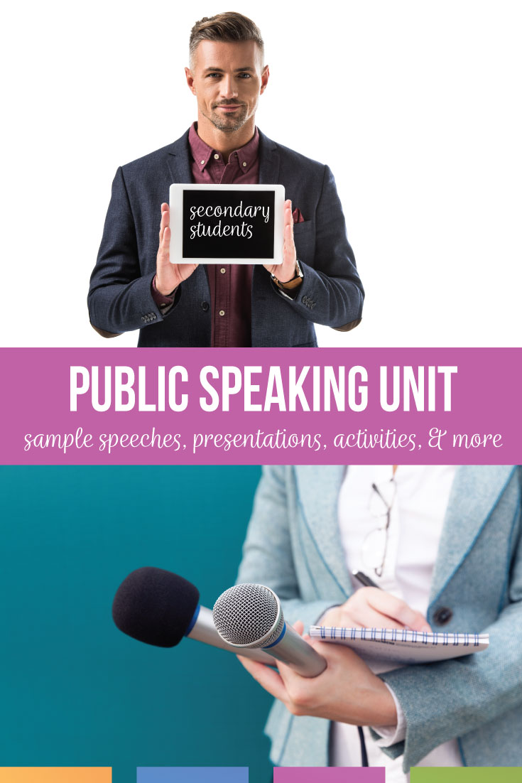 What public speaking unit and public speaking activities will you complete with your secondary students? Adapt this speech unit to your high school English classroom. Add pieces of this speech unit to your language arts curriculum. Finally, download free public speaking activities, a complete public speaking lesson plans PDF.