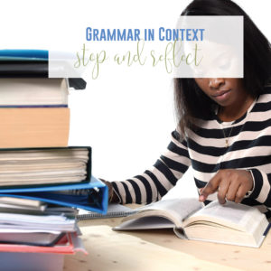 Reflect upon your grammar lessons as you teach grammar in context.