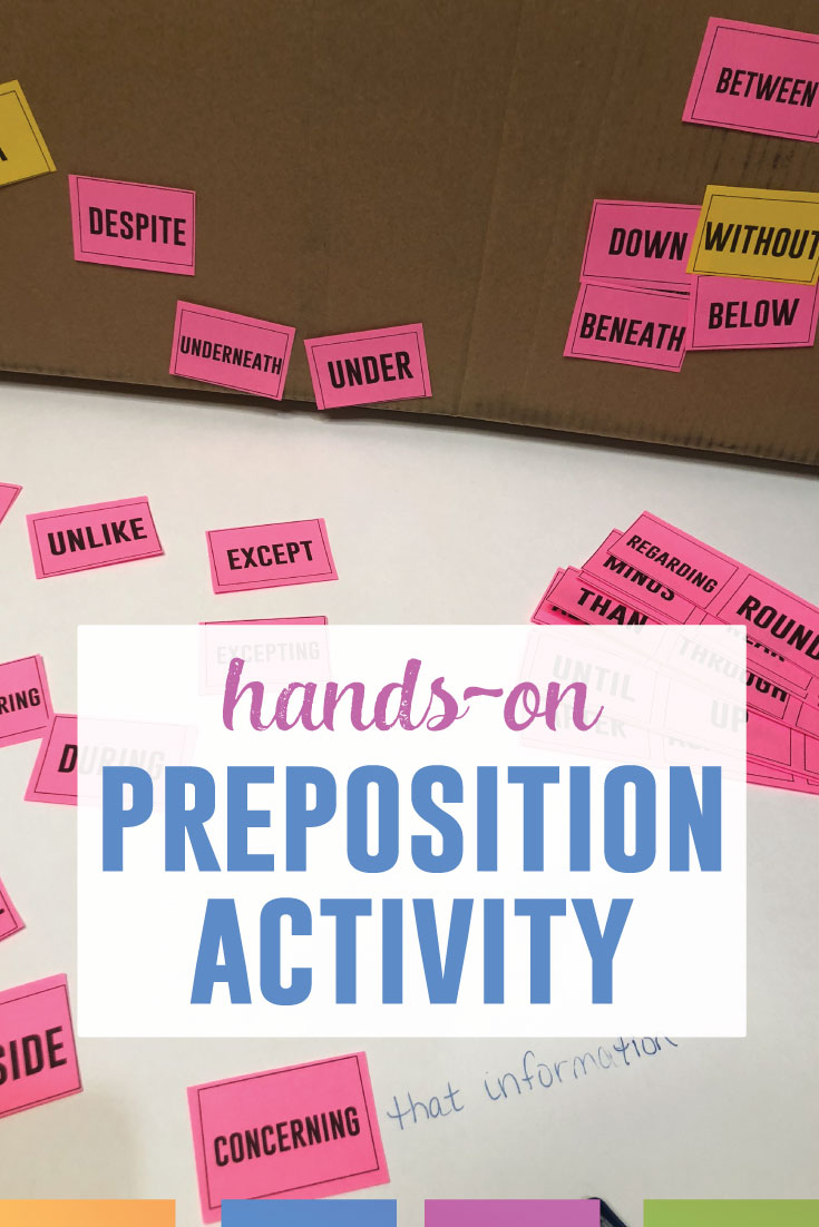 Looking for an interactive grammar activity? Try the preposition box which is simple and gets students interacting with grammar. Click for a free download. #GrammarLessons #LanguageArts