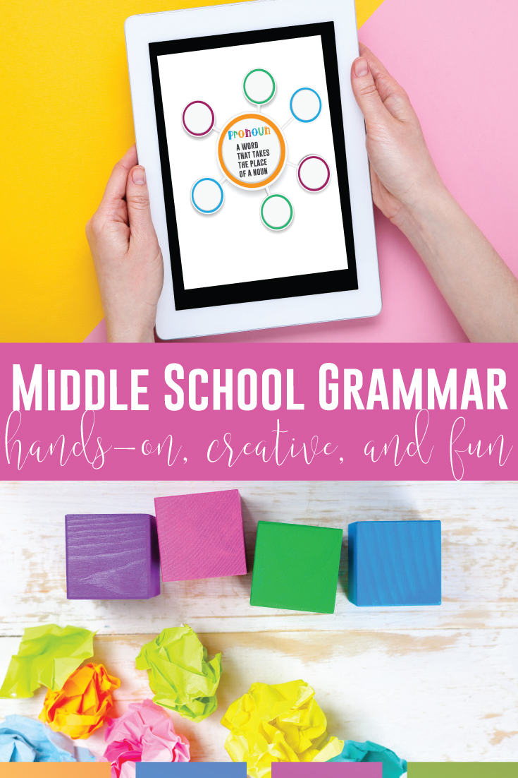 Add interactive middle school grammar activities to your sixth grade, seventh grade, & eighth grade language arts classes. English grammar for middle school can meet language standards. Teaching grammar in middle school can be done digitally or in a virtual classroom. Included are free grammar lessons for middle school. ELA teachers need a grammar book for middle school, & these middle school grammar lessons bring modern grammar activities to middle school ELA classes. Add free grammar lessons.