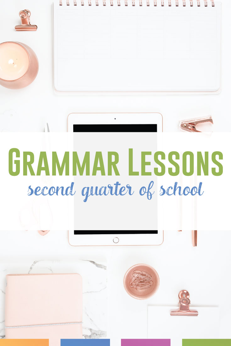 What should you teach the second quarter of school for grammar lessons? This post details lesson plans through winter break. #GrammarLessons