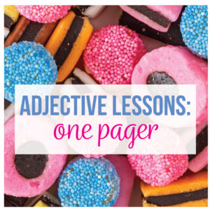 An adjective one pager is a great activities for adjectives.