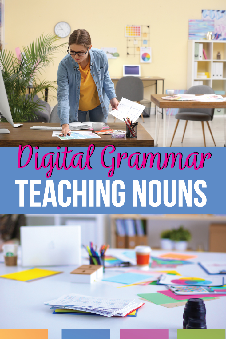 Middle school language art teachers: need a noun lesson? Noun activities are the grammar foundation for complex grammar lessons. A nouns lesson leads to study with possessive & apostrophe use. Secondary teachers need to know how to teach nouns online with a digital noun lesson plan. Digital noun activities for proper nouns, common nouns, concrete nouns, plural nouns, collective nouns: add noun task cards to online grammar lessons for middle school English grammar activities.