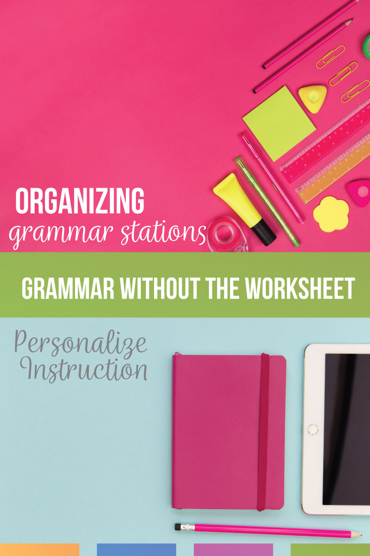 Learning stations for middle school ELA can benefit students. Grammar stations are a great alternative to the grammar worksheet.  Middle school English grammar lessons can be engaging.