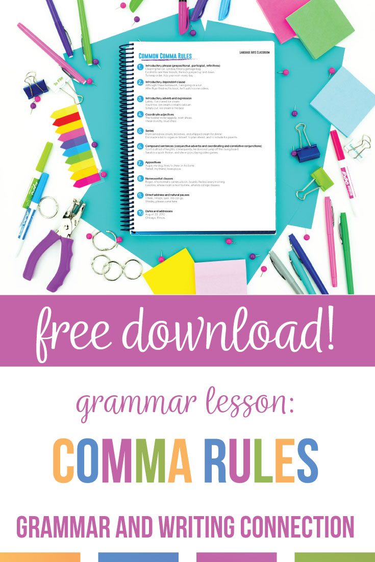 Teaching commas can be engaing & can connect grammar to writing. A simple comma activity is to write with students & model punctuation rules. If an ELA teacher needs how to teach commas in a fun way, try comma activities for corrections & applying writing to pictures. Basic comma usage worksheet practice comma rules for kids. Basic punctuation lesson plans can include comma worksheets. Download this free comma activity for high school English classes. Add comma practice to eighth grade ELA and middle school language arts punctuation units.