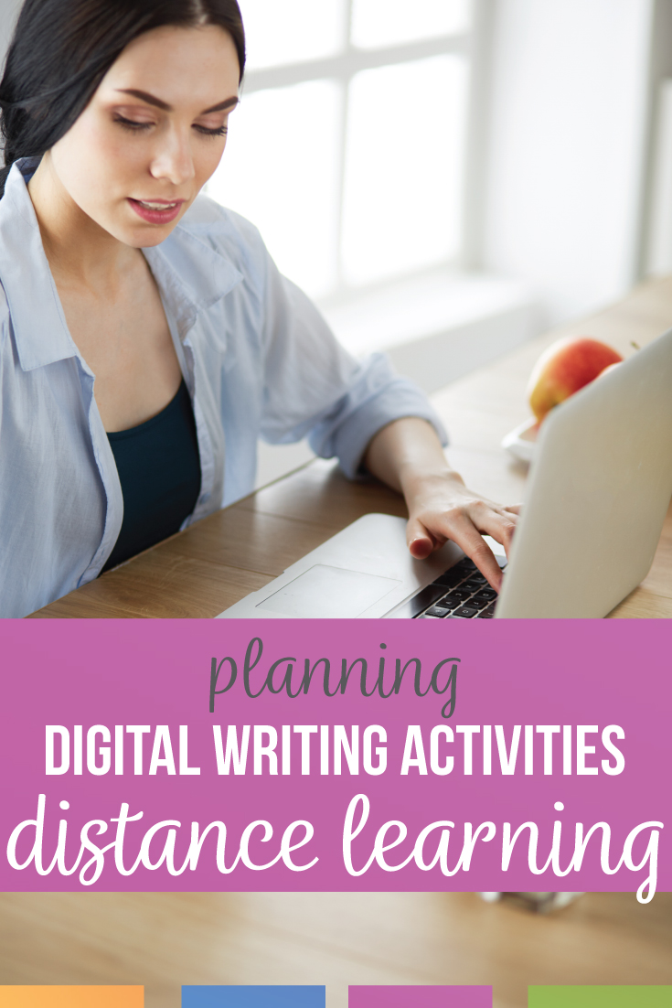 Ten digital writing activities for distance learning. Add these distance learning writing lessons to your secondary English class. Creative writing distance learning will meet writing standards & organize writing classes. Online learning with ten digital writing lessons for high school language arts. High interest writing assignments for high school English & reluctant writers. Teaching writing during distance learning & making remote learning effective with high school English. Creative writing distance learning can engage high school writers.