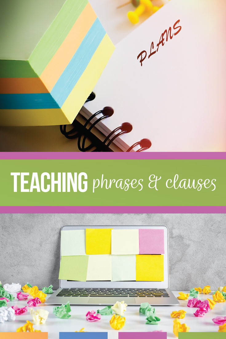 Are you looking for methods for how to teach phrases and clauses? This blog post outlines a complete clauses lesson plan as well as examples for phrases, independent clauses, and dependent clauses for your grammar lessons. Using phrases and clauses activities will connect grammar to your writing lessons. Study punctuation with phrases and clauses with a free grammar download for your high school English lesson plans.