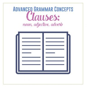 Older students will study noun, adjective, and adverb clauses. Here is a grammar lesson plan for covering clauses. #GrammarActivities