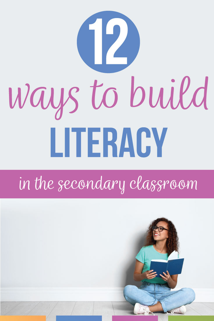 12 Ways To Build Literacy in the Secondary Classroom: honest tips to increase secondary literacy with high school English classes. Teaching literacy in high school can include First Chapter Fridays, direct instruction, and read alouds. Encourage literacy in high school by modeling reading. High school literacy improves classroom performance and understanding of complex informational texts. Build literacy with a variety of tools.